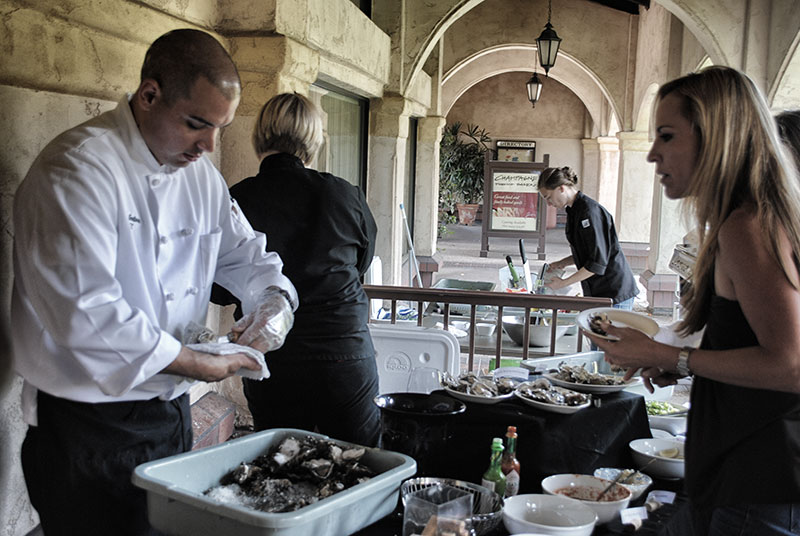Oyster Shucking and Chablis Meritage Wine Market